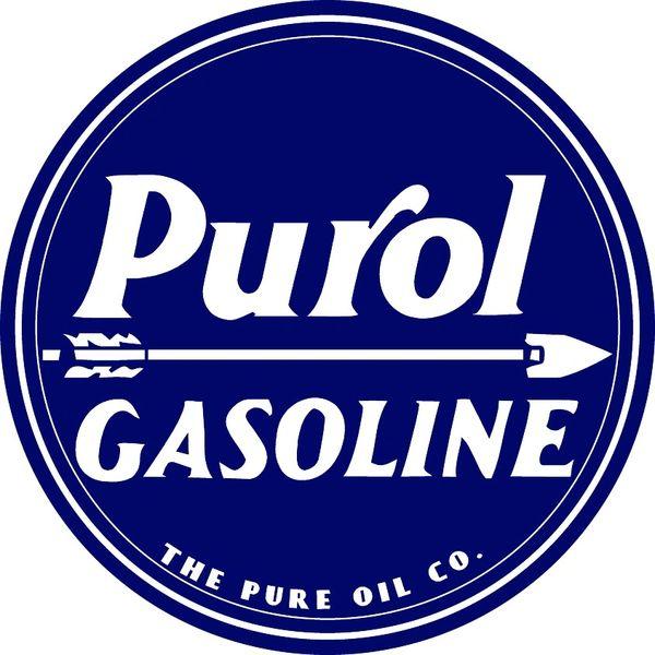 """Purol Gasoline- Pure Oil Company 3.5"""" Round"""