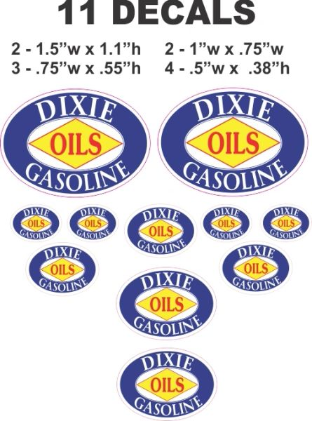 11 Decal Set Dixie Oils and Gasoline
