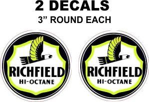 2 Richfield Hi-Octain Gasoline Decals - Nice