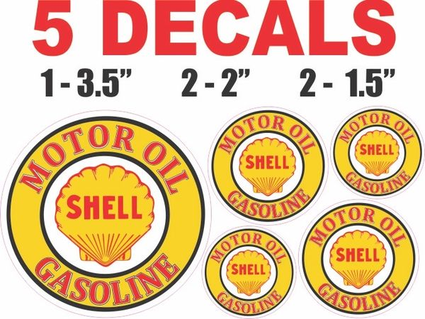 5 Shell Motor Oil Gasoline Decals