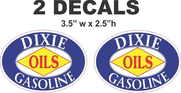 2 Dixie Gasoline Oval Decals