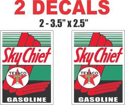 2 Texaco Sky Chief Gasoline Decals