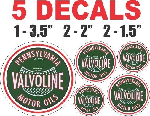 5 Valvoline Motor Oils Round Decals