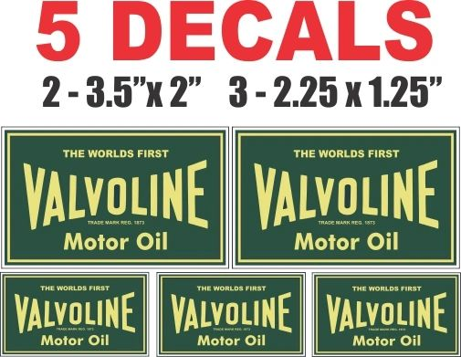5 Valvoline Motor Oil Decals - Very Nice
