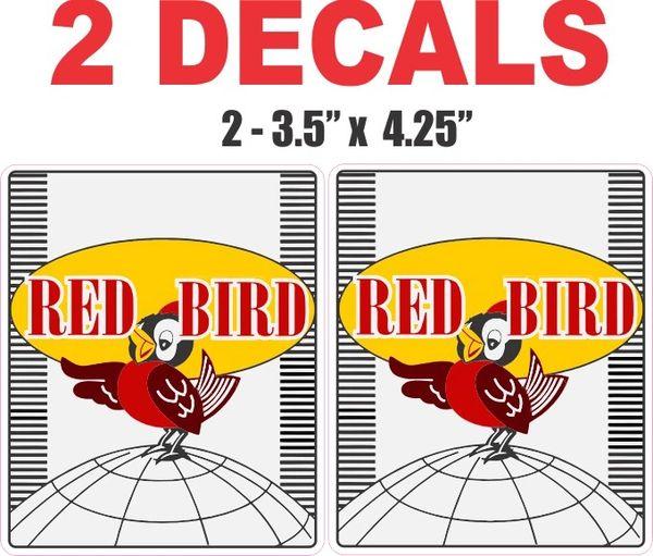 2 Red Bird Gasoline Decals - Nice / Sharp