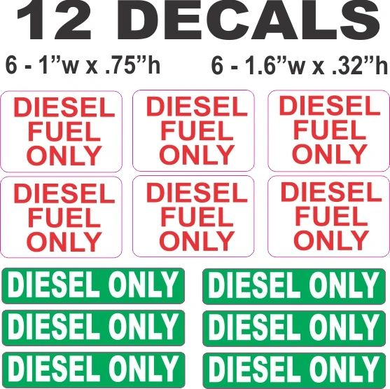 12 Diesel Only Decals - Great for Cabs and Gas Caps