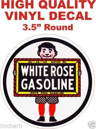 1 Vintage Style White Rose Gasoline Decal
