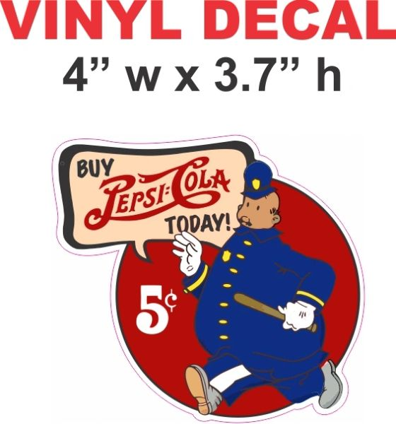 Vintage Style Pepsi Pete The Cop Decal