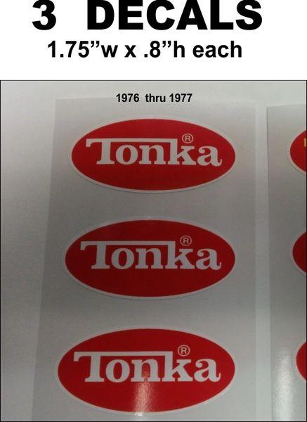 3 Red Tonka Decals used 1976 thru 1977