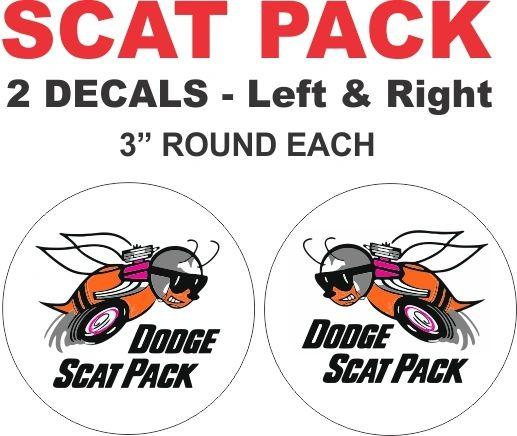 2 Dodge Scat Pack Decals - Round