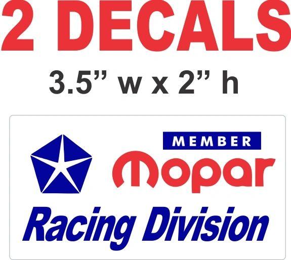 Member Mopar Racing Division Decals