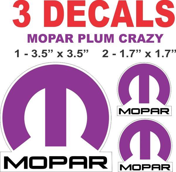 3 Plum Crazy Mopar Decals