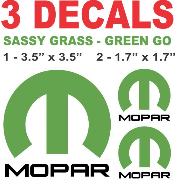 3 Sassy Green Mopar Decals