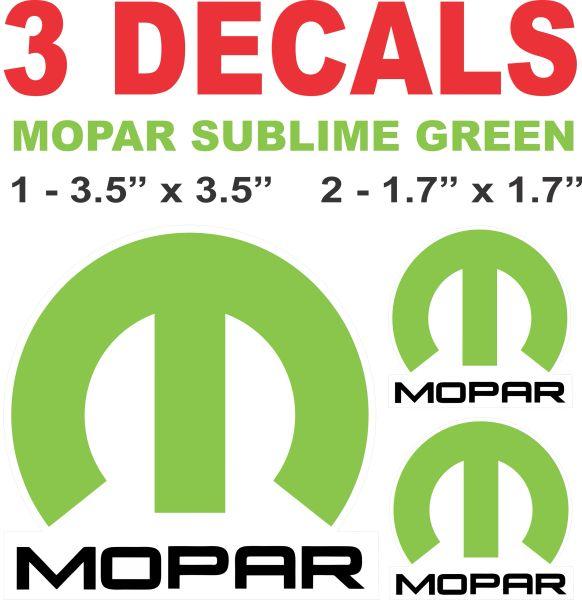 3 Sublime Green Mopar Decals
