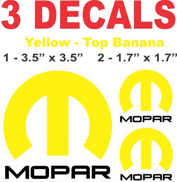 3 Mopar Banana Yellow Decals