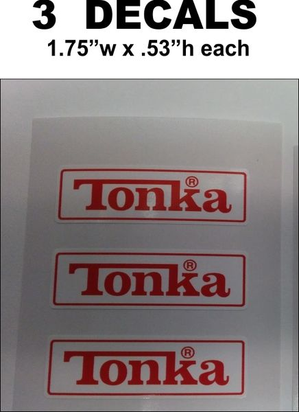 3 Tonka Red / White Rectangular Decals