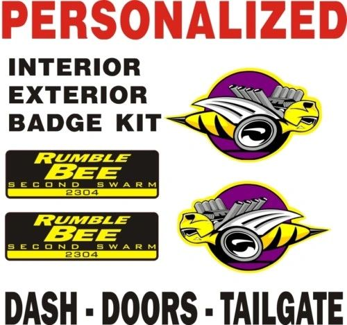 Custom Rumble Bee 4 Decal Set - Add Your 4 Digit VIN - Let me know at checkout