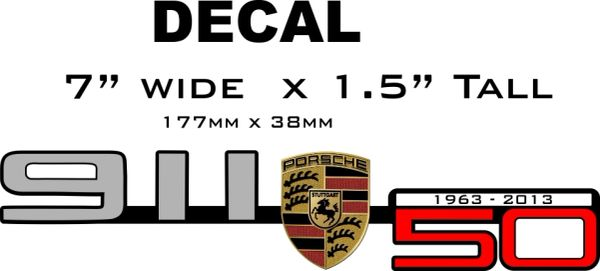 Porsche 50th Anniversary Decal with Shield