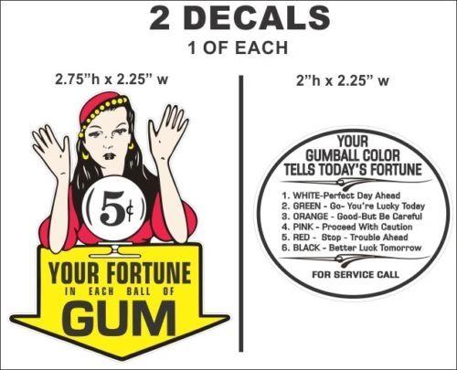 Vintage Gypsy Fortune Teller 5 cent Gumball Machine Oak Acorn Northwestern Decal
