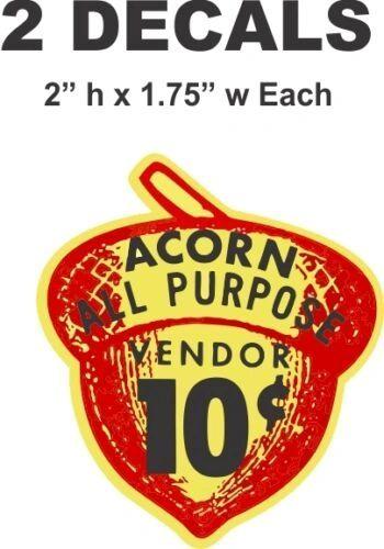 2 Oak Acorn Vending North Western Gumball Machine 10 cent Vendor Vinyl Decals