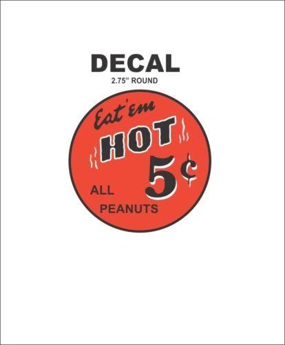 Oak North Ajax Deluxe Hot Nut Vending Vendor Machine 5 Cent Peanuts Vinyl Decal