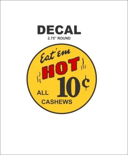Oak North Ajax Deluxe Hot Nut Vending Vendor Machine 10 Cent Yellow Vinyl Decal