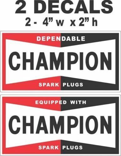 2 Different Style Champion Spark Plu Decals