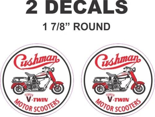 "2 - 1 & 7/8"" Round Cushman V-Twin Motor Scooter Truckster Eagle Vinyl Decals"