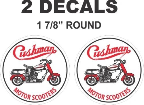 "2 - 1 & 7/8"" inch Round Cushman Motor Scooter Truckster Eagle Vinyl Decals"