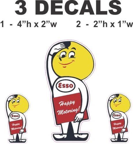 3 Esso Gasoline Man Vinyl Decals