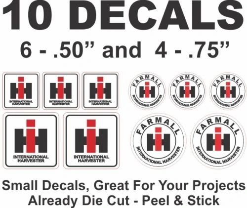 10 Small IH International Harvester Tractor Die Cut Vinyl Decals Dioramas & More