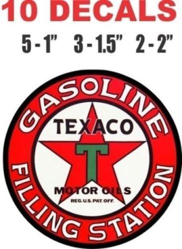 10 Texaco Gasoline Filing Station Decals Great For Scale Models Gas and Oil Cans and Dioramas