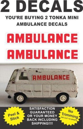 Pressed Steel Mini Truck Metro Van Ambulance Rescue Squad Side Decals for Tonka