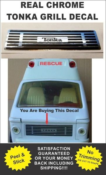Pressed Steel Tonka Truck Metro Van Ambulance Rescue Squad Front Grill Decal