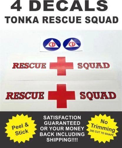 Pressed Steel Tonka Truck Metro Van Rescue Squad Complete Decal Set Very Nice