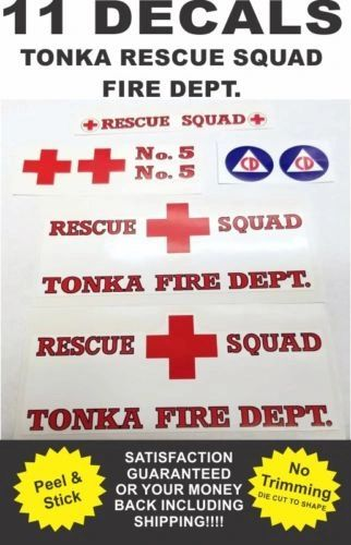 Pressed Steel Tonka Truck Metro Van Rescue Squad Fire Dept. Complete Decal Set