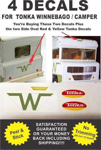 Pressed Steel Tonka Winnebago Indian Camper Van 4 Piece Decal Set - Very Nice!