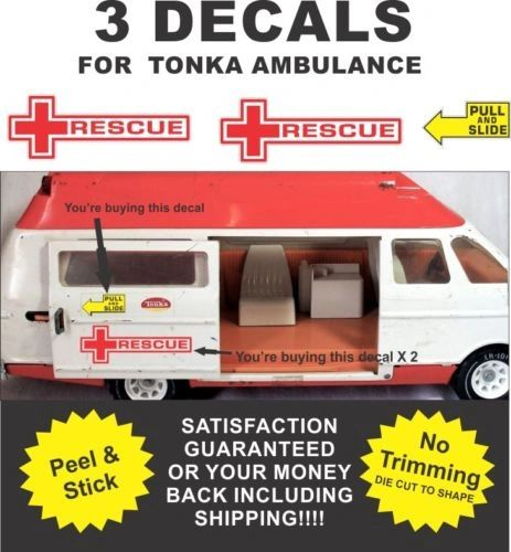 Pressed Steel Truck Metro Van Ambulance Rescue Squad - 3 Decals