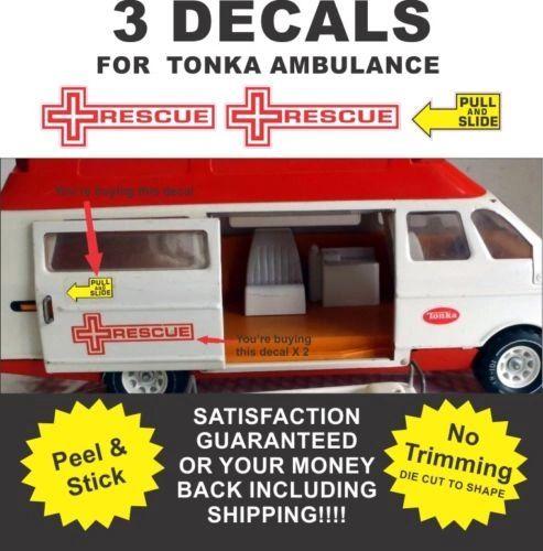 Pressed Steel Truck Metro Van Ambulance Rescue Squad 3 Decals Very Nice!!