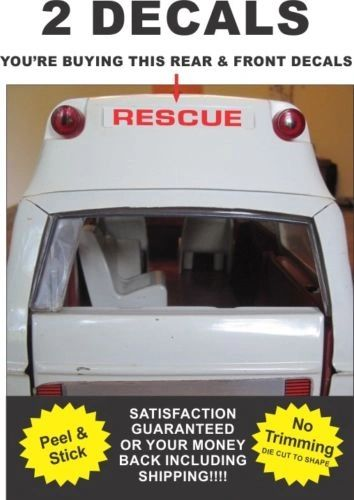 Pressed Steel Truck Metro Van Ambulance Rescue Squad Roof Decals