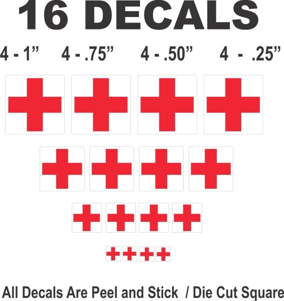 Tootsietoy Midgetoy Ambulance Decals Red Cross on Square Scale Models Dioramas