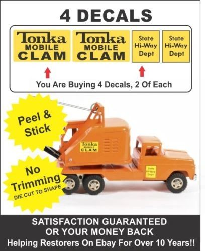Vintage Mighty Dump Truck Crane Mobile Clam Decal For Tonka