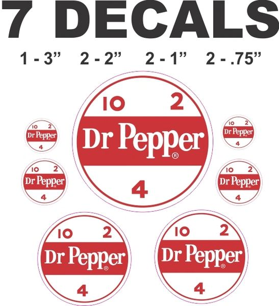 7 Dr Pepper Decals - Great For Many Projects