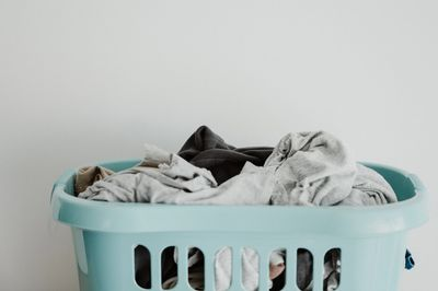 Basket full of dirty laundry.