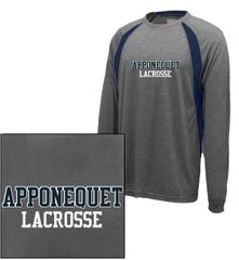 Apponequet Boys Lacrosse Long Sleeve tech tee (Carbon/Navy)