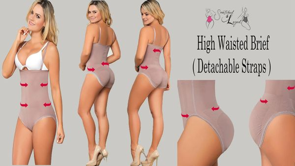 Snatched High Waisted Panty Brief with detachable straps (Latex infused fabric to flatten the tummy while snatching waistline)