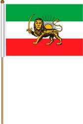 """IRAN OLD PERSIAN LION LARGE 12"""" X 18"""" INCHES COUNTRY STICK FLAG ON 2 FOOT WOODEN STICK .. NEW AND IN A PACKAGE."""