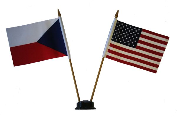 "CZECH REPUBLIC & USA SMALL 4"" X 6"" INCHES MINI DOUBLE COUNTRY STICK FLAG BANNER ON A 10 INCHES PLASTIC POLE .. NEW AND IN A PACKAGE"