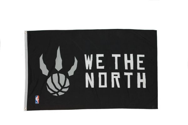 """WE THE NORTH"" BLACK TORONTO RAPTORS NBA LOGO 3' X 5' FEET FLAG BANNER .. NEW AND IN A PACKAGE"