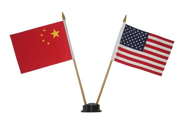 "CHINA & USA SMALL 4"" X 6"" INCHES MINI DOUBLE COUNTRY STICK FLAG BANNER ON A 10 INCHES PLASTIC POLE .. NEW AND IN A PACKAGE"